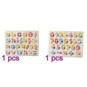 TOYMYTOY Wooden Peg Puzzle Board Baby Educational Learning Toy ( Numbers + Letters)