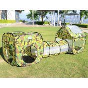 EocuSun children's tent Set Balls Ball pool Balls Ball pit Cardboard House Tunnel Basket Basketball pool Camouflage