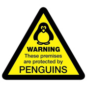Warning Premises Protected by Penguins Sticker - 10cm x 9cm CCTV Penguin Security Vinyl Decal