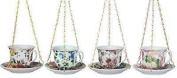 Teacup And Saucer Ceramic Wild Bird Feeder With Hanging Chain In Various Colours