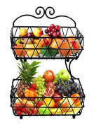 Esylife 2 Tier Black Metal Bread Basket Fruit Basket Rack Stand