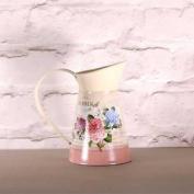 Rose & Hydrangea Print Tin Jug X 16cm Country Vintage Shabby Chic