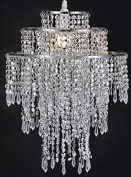 Waneway Large 3 Tiers Chrome Sparkling Beads Pendant Shade, Ceiling Chandelier