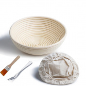 Banneton Proofing Basket 25cm Round Banneton Brotform for Bread and Dough [FREE BRUSH] Proofing Rising Rattan Bowl + FREE LINER + FREE BREAD FORK
