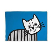 Jane Foster Vintage Retro Blue Teal Animal Scandi Scandinavian Tea Towel - Cat