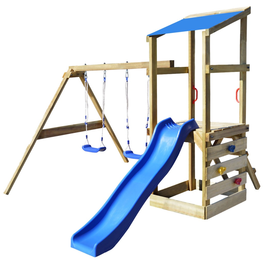 Wooden Garden Kids Playhouse Set Playground Swings Sandpit Slide Climbing Wall