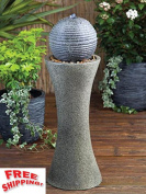 Water Feature Fountain Pedestal Silver Sphere Garden Outdoor Pond Solar Leds Uk