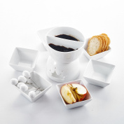 Two Compartments Ceramic Tealight Candle Cheese Butter Chocolate Fondue Set