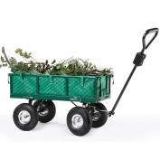 Heavy Duty Garden Cart Trolley Sturdy Wheel Barrow W Steering & Off-road Tyres