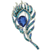 Brooches Store Elegant Silver and Aqua Blue Crystal Peacock Feather Brooch