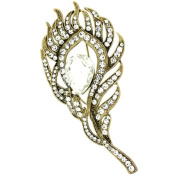 Brooches Store Elegant Gold & Crystal Peacock Feather Brooch
