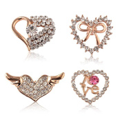 Sewanz Women's 4 Pcs Rhinestone Love Heart Brooch Pins Set,Collar Decorations Gift
