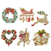 Sewanz Women's 6 Pcs Rhinestone Christmas Theme Brooch Pins Set, Xmas Festival Decorations Gift