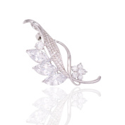 Hanie Flower and Leaf Brooch Silver Tone White Round and Marquise Cubic Zircon