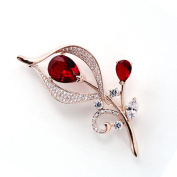Hanie Ruby Flower Brooch Rose Gold Plated Teardrop and White Round Cubic Zircon