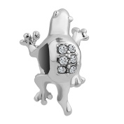 Uniqueen Silver Plated Gecko Animal Charms Beads fit European Charm Bracelet
