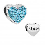Uniqueen Birthstone Sister Heart Charms Bead fit Charm Bracelet