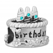 Uniqueen Happy Birthday Cake Charms Birthstone Charm Beads Fit Charm Bracelet