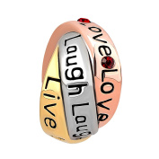 Uniqueen Trinity Ring Live Love Laugh Red Crystal Charms Beads Fit Pandora Charm Bracelet