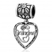 Grandma 925 Sterling Silver Charm Dangle Flower Heart Grandamother Gifts for European Charms Bracelets-Shining Charm