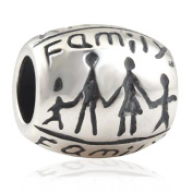 Love All My Family 925 Sterling Silver Charm Mum Dad Children Bead for European Charms Bracelets-Shining Charm