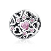 Love Hearts Floating 925 Sterling Silver Charm Pink Cz Fit European Charms By SparklingJewellery