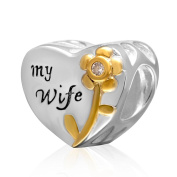 """Love Heart to """"My Wife""""Gold Plated Rose 925 Sterling Silver Charm Christmas Anniversary Birthday Wedding Gifts for European Charms Bracelets-Shining Charm"""
