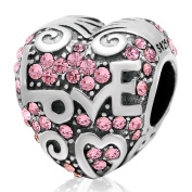 Love Heart Pink CZ 925 Sterling Silver Charm for European Charms Bracelets-Shining Charm