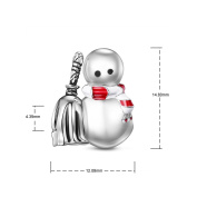 TINYSAND 925 Sterling Silver Cool Snowman with Red Scarf and Broom Christmas Charm Bead Fit European Bracelet for Woman