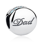 """Love """"Dad"""" Father's Day Gifts Family 925 Sterling Silver Charms Sky Blue CZ Bead Fit Bracelets By SparklingJewellery"""