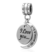 Shining Charm I Love You to The Moon and Back Dangle 925 Sterling Silver Charms for Bracelets