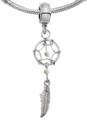 Dreamcatcher charm with imitation stones and rhodium plating by BodyTrend - middle hoop size 1.0*11mm, the leaf size 12mm
