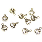 Wholesale x 10 pumpkin silver metal fun quirky charms 1.5cm Halloween pendants
