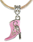 Lovely 3D Silver plated Boots Charm with CZ Crystal - fits pandora & troll bracelets - hand polished and hand finished to fine jewellery standard - hand painted enamel colouring