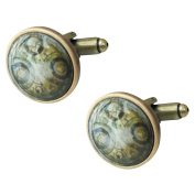 Time Lord Glass Cabochon Cufflinks in Gift Box