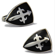 Rhodium Plated Enamel Cufflinks Silver Black Knight Shield Shirt Wedding