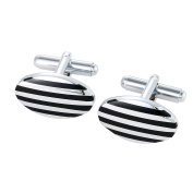 DonDon Men's Striped Oval Cufflinks In Silver-Black Velvet Gift Bag
