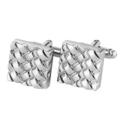 DonDon Men's Cufflinks Stainless Steel in Silver ® Samtbeutel