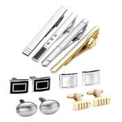 Zysta Set of 12pcs Stainless Steel Men's Classic Exquisite GQ Necktie Tie Clips Bar + Shirts Cufflinks Groom Wedding Business Shirt Men's Jewellery