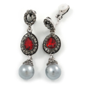 Marcasite Hematite/ Red Crystal Pearl Clip On Earrings In Antique Silver Tone - 45mm L