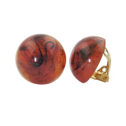 DEcus NObilis 00953 - Clip-On Earring ROUND Plastic Glossy Brown Marbled 18 mm - Fashionable Ear Clips for every Ocassion.