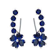 QUKE Woman Blue Sapphire-colour Flower Cubic Zirconia Crystal Cuff Wrap Ear Vines Climbers Earrings Jewellery