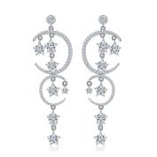 Hanie Star and Moon Long Dangle Drop Earrings 925 Sterling Silver Chandeliar Bridal Jewellery