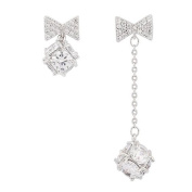 Hanie Irregular Bow Stud and Long Dangle Drop Earrings 925 Sterling Silver White Cubic Zircon