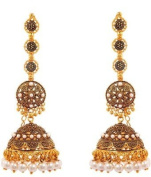 Intricately Designed Indian Traditional Ethnic Long Chain Earring Jhumki