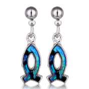Barch Young Genuine Shell Pisces Dangle Earrings Silver Colour