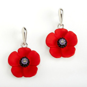 The 5 Petal Poppy Drop Earrings, Enamel Rhodium Plated set with Crystal