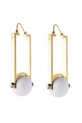 may mOma Women's Gold Plated Round White Stone Gea Earrings
