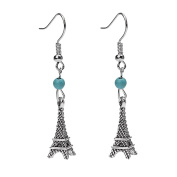 Silver Plated Ethnic Eiffel Tower Charm & Simulated turquoise Women Girls Hook Dangle Drop Earrings