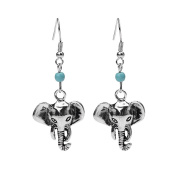 Silver Plated Punk Ethnic Vintage Lovely Elephant Charm & Simulated turquoise Women Girls Hook Dangle Drop Earrings